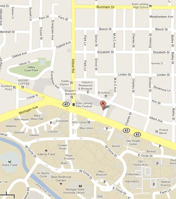Map to Mackerel Sky Gallery of Contemporary Craft at 211 MAC East Lansing, MI  48823